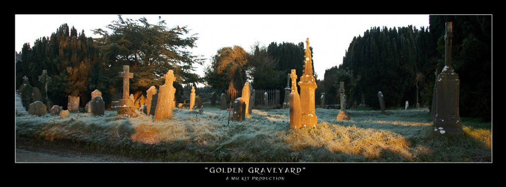 Sunrise over an old graveyard turns the stones to gold in Athy, Co. Kildare, Ireland